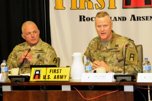 First Army Commanding General, Lt. Gen. Thomas S. James Jr., (right) and First Army's senior enlisted Soldier, Command Sgt. Maj. Richard K. Johnson, welcome attendees to the First Army Fall Commanders Forum.