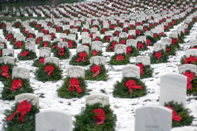 Christmas wreaths adorn headstones at Arlington National Cemetery, Va., in December 2005.