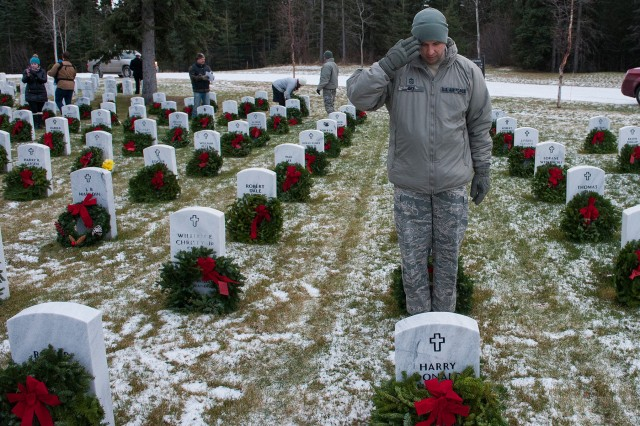 Air Force Chief Master Sgt. Charles C. Orf salutes a headstone at Fort Richardson National Cemetery during the annual Wreaths Across America Day at Joint Base Elmendorf-Richardson, Alaska, Dec. 16, 2017.