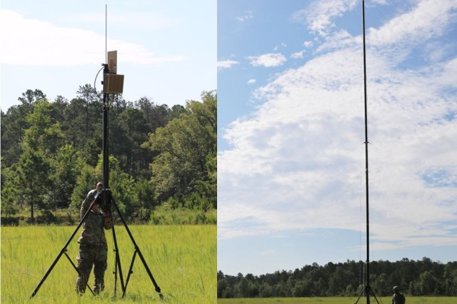 Soldiers from the 67th Expeditionary Signal Battalion (ESB) erect this Terrestrial Line Of Sight (TRILOS) Radio during the first unit equipped new equipment training at Fort Bragg, North Carolina, on June 5, 2018. TRILOS is part of the current ESB-Enhanced porotype equipment package.
