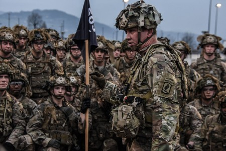 The command sergeant major for the 173rd Airborne Brigade outlines why their training is so tough as the paratroopers look on with enthusiasm at the next challenge. Paratroopers complete a 2.2 mile full combat load run for morning physical training, in Vicenza, Italy, April 4, 2018.