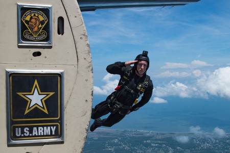 A U.S. Army Golden Knights team member jumps out of an aircraft during AirPower Over Hampton Roads Air and Space Expo at Joint Base Langley-Eustis, Va., May 20, 2018. The team conducts demonstrations, competitions and tandem jumps to connect the Army with the American public.