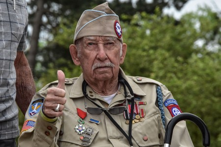 World War II veteran Robert Wallace returns to Normandy, France, for the first time since he parachuted in with the 82nd Airborne Division 74 years ago, June 1, 2018.