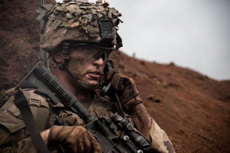Soldiers begin the movement phase during a combined arms live-fire exercise at Schofield Barracks, Hawaii, Aug. 9, 2018. The exercise is part of an overall training progression in order to maintain combat readiness for 21st Infantry Regiment, 2nd Infantry Brigade Combat Team, 25th Infantry Division, in preparation for a Joint Readiness Training Center rotation later this year.