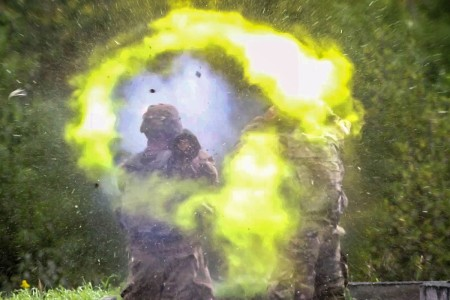 Soldiers from shoot the AT4 Rocket Launcher at notional targets, Aug. 22, 2018, in Fort Drum, New York.