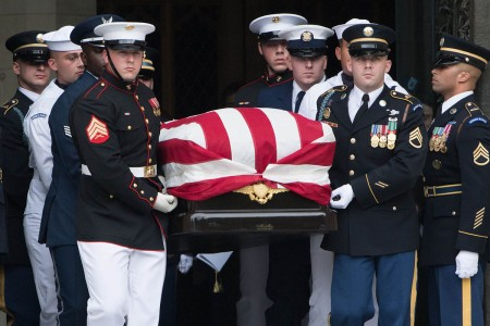 Senator John S. McCain III is given a Special Full Honors Funeral by members of the Joint Service Casket Team at the Washington National Cathedral in Washington D.C., Sept. 1, 2018. Personnel of the Department of Defense, including Soldiers of the 3rd U.S. Infantry Regiment (The Old Guard), are honoring the former Arizona senator and retired Navy captain by providing ceremonial support to his congressional funeral events.
