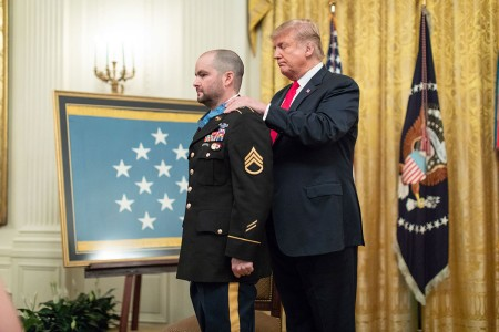 President Donald J. Trump presents the Medal of Honor to Retired U.S. Army Staff Sgt. Ronald J. Shurer II, Oct. 1, 2018, in the East Room of the White House, Washington, D.C.