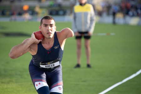 Retired U.S. Army Staff Sgt. Michael Kacer competes in the IF2 shot put event at the 2018 Invictus Games in Sydney, Australia. Kacer was able to complete some impressive throws which secured his silver medal in the event. Invictus Games is an international Paralympic style sporting event founded by Prince Harry for the wounded, seriously ill, or injured service members.