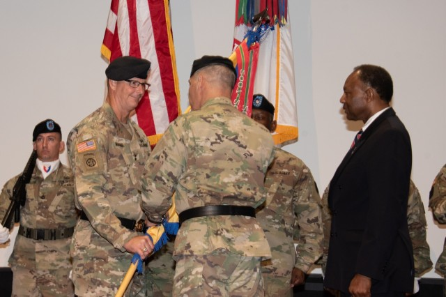 The U.S. Army Security Assistance Command (USASAC) welcomed Maj. Gen. Jeff Drushal during a July 16 assumption of command ceremony in the Bob Jones Auditorium, Redstone Arsenal. Army Materiel Command's Gen. Gustave Perna officiated the ceremony.