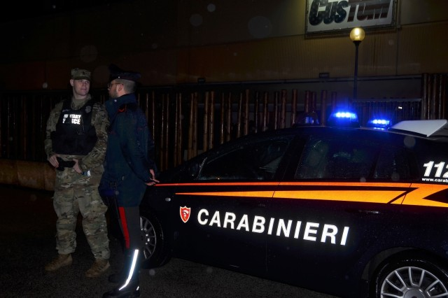 VICENZA, Italy -- Italian Carabinieri assigned to South European Task Force and the U.S. Army Garrison Italy Provost Marshal Office have launched a new pilot program consisting of a joint Carabinieri and Military Police patrol initiative. The American and Italian two-vehicle team conducts random visits and creates a presence at Vicenza's most popular pubs, bars and nightclubs. This pilot, launched in early November, is scheduled to last for several months.
