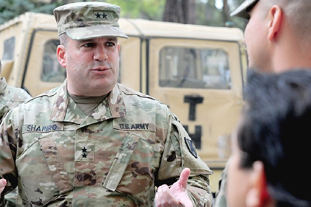 Maj. Gen. Stephen Shapiro, the commanding general of the 21st Theater Sustainment Command, visits the 1st Armored Brigade Combat Team, 1st Cavalry Division, to discuss operational and logistics functions in Zagan, Poland, on Sept. 26, 2018.