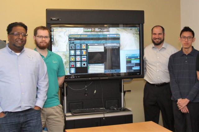 The Tactical Interface Tracking Application Node development team. From left: Tom Denniston, Dave Prasad, Benjamin Zeigler, Matt Matthius, Wesley Chiou, Paul Smith.