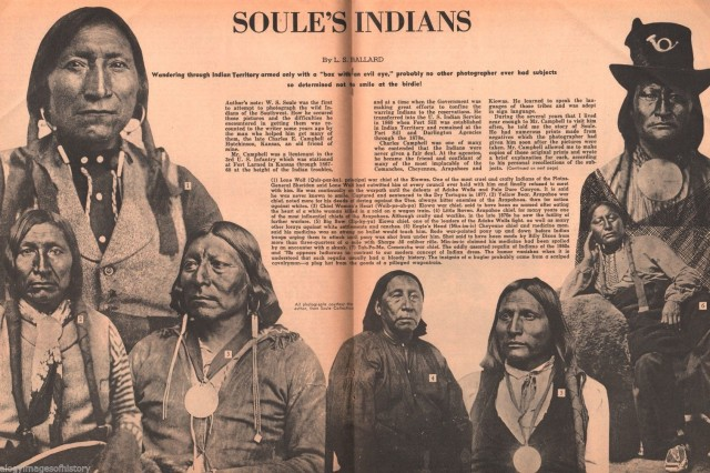 This spread in an unidentified western magazine presents a collage of photographs of Native American warriors taken by early-day Fort Sill photographer William Soule, who followed in the footsteps of people such as George Catlin and Matthew Brady.