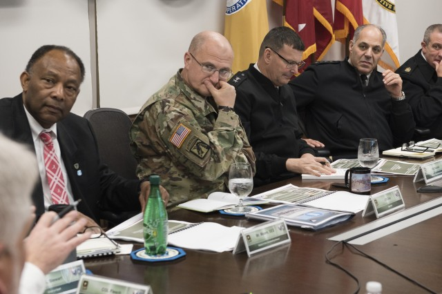 Gen. Gus Perna, commanding general of the Army Materiel Command, met with USASAC for the quarterly update. Others at the table include Robert Moore, USASAC deputy to the commanding general, Lt. Gen. Ed Daly, deputy commanding general of AMC, Maj. Gen. Jeff Drushal, commanding general USASAC, and Command Sgt. Maj. Rodger Mansker, AMC.
