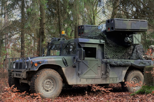 An Air Defense Artillery Humvee Avenger weapons system assigned to Battery C, 1-174 Air Defense Artillery Regiment during exercise Combined Resolve XI at Hohenfels Training Area, Germany, Dec. 7, 2018. Combined Resolve XI is a biannual exercise that serves as the combat training center certification exercise for regionally allocated forces. This iteration of the exercise takes place in two phases at the Grafenwoehr and Hohenfels training areas between Nov. 26 - Dec. 14, 2018 and Jan. 13 - 25, 2019.
