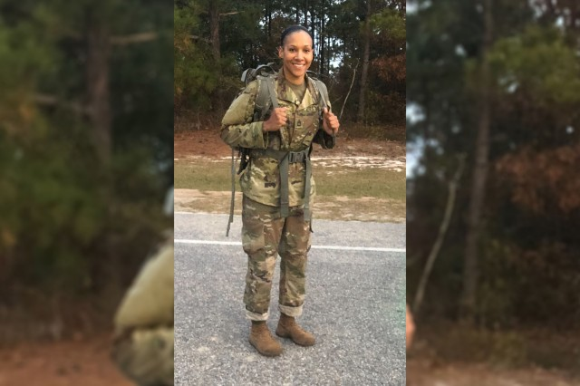 Sgt. 1st Class Janina Simmons, of Colorado Springs, Co., took first place Dec. 1, 2018 in the Bataan Memorial Death March qualifying competition, becoming the first woman to take the top spot in the Fort Jackson qualifier.