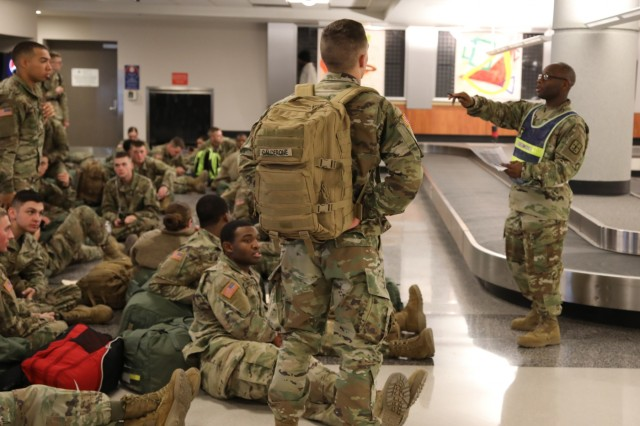Sgt. 1st Class Jermaine Twitty, 16th Ordnance Battalion, 59th Ordnance Brigade, briefs ordnance advanced individual training (AIT) Soldiers Dec. 20, 2018 prior to check in for their flights from the Richmond International Airport. The node processed 2,000 Fort Lee, Va., Soldiers who were flying home for the holidays. The brigade processed more than 4,200 Soldiers leaving via POV, air, bus and train. Each year during the Christmas and New Year holiday season, U.S. Army Combined Arms Support Command AIT schools conduct HBL to give military students and cadre downtime.