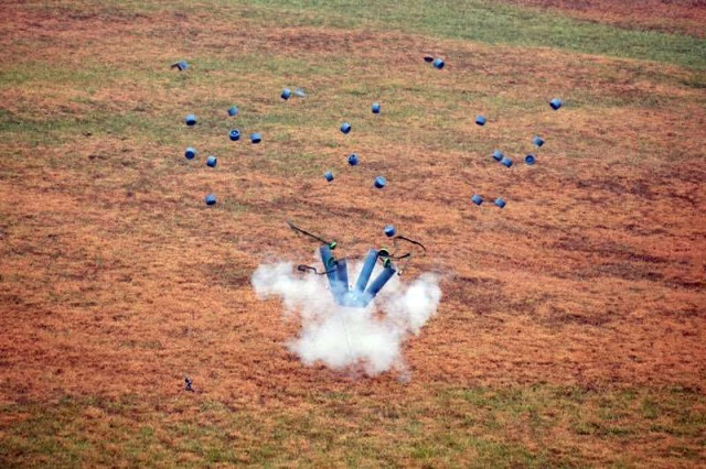 A SAVO explodes during the VIP demonstration for the assessment phase at Fort Leonard Wood Dec. 14.