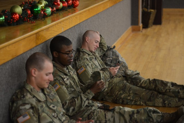 FORT BENNING (Dec. 21, 2018) -- Family members picked up 2nd Battalion, 19th Infantry Regiment trainees from the Fort Benning, Georgia, Sand Hill Recreation Center Dec. 19 for Holiday Block Leave. Leaders and Soldiers of 2nd Battalion, 19th Infantry Regiment, and 1st Battalion, 46th Infantry Regiment, conduct Holiday Block Leave airport operations Dec. 19 and 20 from Fort Benning, Georgia, to the Hartsfield-Jackson Atlanta International Airport. The annual event marks the time when students and trainees depart schools and training centers in mid-December to spend the holidays with their Families and friends. (U.S. Army photos by Megan Garcia, Fort Benning Maneuver Center of Excellence Public Affairs)