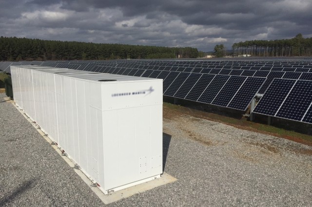 This 1-megawatt utility battery that stores energy from Redstone Arsenal's solar array in Alabama is the first of its kind for the Army. Large-scale utility batteries could potentially be added to many renewable-energy projects around the Army in the future, though, according to Michael McGhee, executive director of the Army Office of Energy Initiatives.