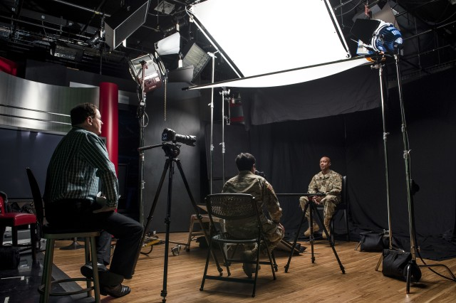 Sgt. Claude Richardson, a U.S. Army Reserve Soldier and suicide prevention instructor with the 358th Military Police Company, talks about his experience as an instructor during a video project hosted and organized by the 200th Military Police Command's Suicide Prevention Program to document the stories of suicide survivors and those affected by the suicide of loved ones during a two-day shoot at the Defense Media Activity, Fort Meade, Md., Dec. 14, 2018. These stories will be used by the 200th MP Command for a 2019 video campaign on social media as well as training purposes for Soldiers during suicide prevention training. The intent is to engage audiences more effectively to reduce suicide rates across the force.