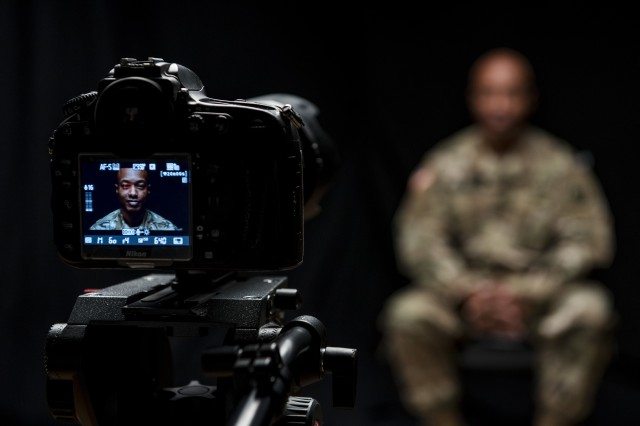 Sgt. Claude Richardson, a U.S. Army Reserve Soldier and suicide prevention instructor with the 358th Military Police Company, talks about his experience as an instructor during a video project hosted and organized by the 200th Military Police Command's Suicide Prevention Program to document the stories of suicide survivors and those affected by the suicide of loved ones during a two-day shoot at the Defense Media Activity, Fort Meade, Md., Dec. 14, 2018.