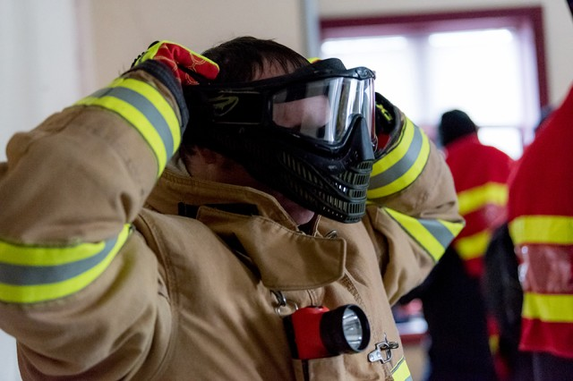 Peter Pawchak, firefighter/emergency medical technician, participates in an active shooter drill designed to test Tobyhanna's first responders.