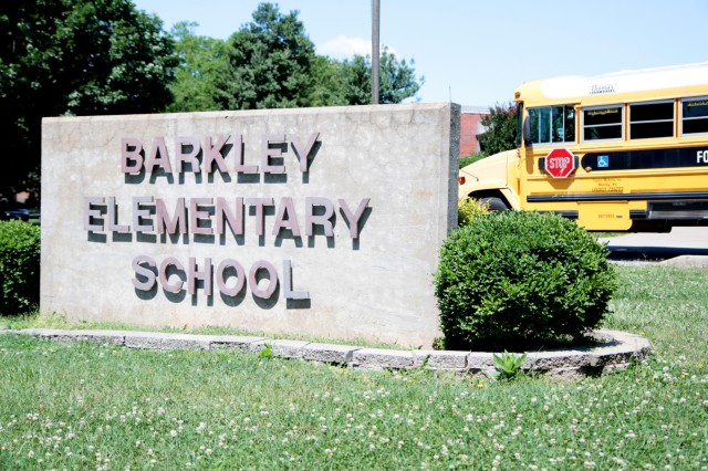 The Barkley Elementary School sign June 7, at Fort Campbell. The school will be closing its doors and relocating to a new upgraded 21st century learning style building. (Photo by Sgt. Steven E. Lopez, 40th Public Affairs Detachment, 101st Airborne Division (Air Assault))