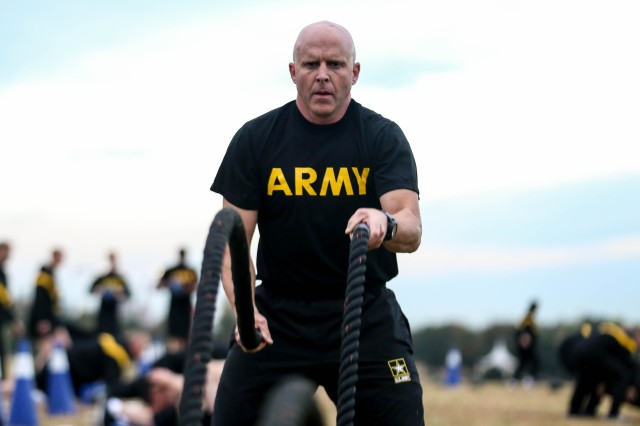 Leaders at the 2018 Garrison Commanders conference participated in morning PT sessions.