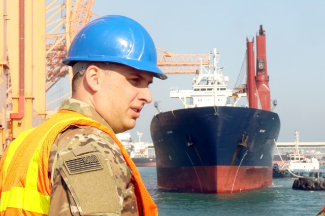 Sgt. Alex Buckley, 1173rd Deployment and Distribution Support Battalion, prepares for an incoming vessel December 24, 2018, at the Port of Shuaiba, Kuwait. (U.S. National Guard photo by Sgt. Connie Jones)