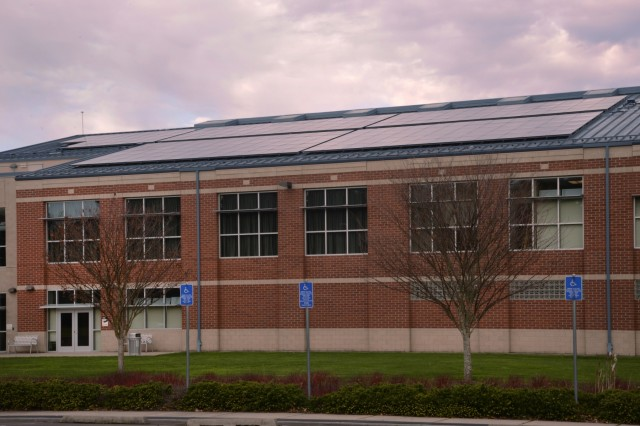 Solar Panels attached on top of the Armed Forces Reserve Center at Camp Withycombe, in Clackamas, Ore., helped boost the energy savings of the building. Over the previous summer, added panels were added to the building. Even on overcast days, the panels continue to produce power for the building, helping save on energy cost for the Oregon National Guard.