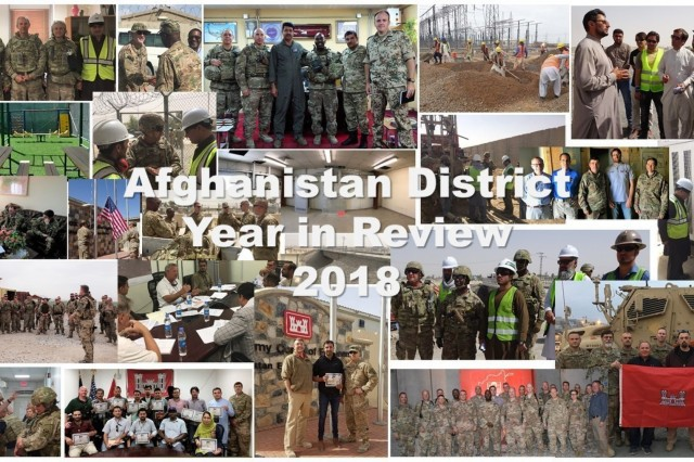 Delivering the Program through our people, projects and programs from the U. S. Army Corps of Engineers Afghanistan District throughout 2018 depicted in a photo collage.