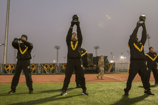 The command team of the U.S. Army 2nd Infantry Division, 2nd Sustainment Brigade, hosted a physical readiness training session with the sergeant major of the Army, Daniel Dailey, Eighth Army outgoing Command Sgt. Maj. Rick Merritt, at Camp Humphreys, South Korea, on 15 Nov., 2018. (U.S. Army photos by Spc. Adeline Witherspoon, 2nd SBDE)