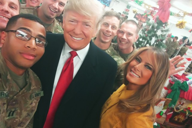 U.S. Army Capt. Micah Stavrou, troop commander with Task Force Thunder, 3rd Cavalry Regiment, takes a selfie with U.S. President Donald J. Trump and first lady Melania Trump, during a visit to troops in Iraq, Dec. 26, 2018. The 3rd Cav. Regt. is deployed in support of Operation Inherent Resolve, working by, with and through the Iraqi Security Forces and Coalition partners to defeat ISIS in areas of Iraq. (U.S. Army photo by Capt. Micah Stavrou)