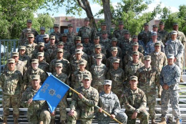 "Soldiers assigned to B Company, 301st Military Intelligence Battalion, 500th Military Intelligence Brigade-Theater pose for a group photo during training exercise ""Panther Strike"" Jun. 2-17, 2018."