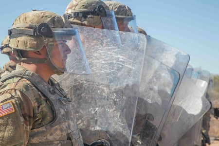 Soldiers with the 65th Military Police Company, conducts nonlethal riot control training at Davis-Monthan Air Force Base, Ariz., Nov. 24, 2018.