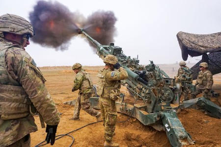 U.S. Army troopers assigned to the Field Artillery Squadron, 3rd Cavalry Regiment, fire their M777 Howitzer on Firebase Saham, Iraq, Dec. 3, 2018. They are deployed in support of Operation Inherent Resolve, working by, with and through the Iraqi Security Forces and Coalition partners to defeat ISIS in designated areas of Iraq and Syria.