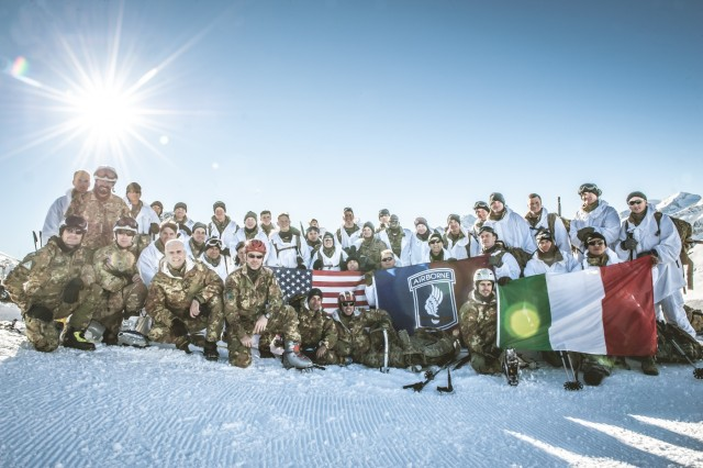 Sky Soldiers train with Julia Brigade in Dolomites, Dec. 10-12, to experience rigorous professional development and build interoperability with Italian allies while summiting the 2,700 meters of snow covered Monte Tonale.
