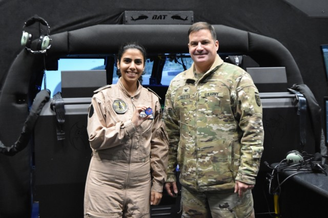 The Eastern Army National Guard Aviation Training Site (EAATS) here recently hosted Cadet Aya Al-Sourany of the Royal Jordanian Air Force, Jordan's first female helicopter pilot. EAATS has a long history of training pilots form Jordan, and from many nations. Col. Todd Tuttle, EAATS commander, presented a Commander's coin to Cadet Alsourany in recognition of her unique accomplishments and first aviation training visit to Pennsylvania.