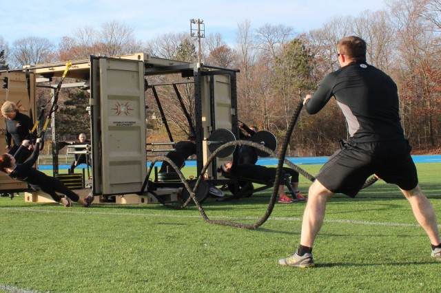 "Pictured is the Army's new containerized mobile fitness units, or ""Gym-in-a-Box,"" in support of U.S. Army Forces Command and its Soldier Readiness Test and Training Program (SRT2P), which encompasses the Army's new approach to total force readiness. Soldiers and civilians from the 900th Contracting Battalion, 419th Contracting Support Brigade, and the Mission and Installation Contracting Command-Fort Bragg contracting office at Fort Bragg, N.C., recently completed contracting actions to award a small business to supply the equipment to 25 FORSCOM units."