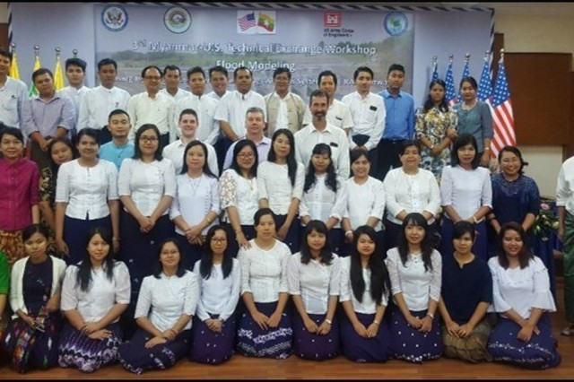 U.S. Army Corp of Engineers (USACE) subject matter experts pose for a photo with participants in the flood modeling workshop that was held in Yangon Myanmar, Dec. 10-14, 2018. USACE Pacific Ocean Division (POD) conducted the technical exchange with a focus on water. POD, as part of its mission, works to help regional entities with whom they have common interests develop and improve their own capabilities in response to disasters. In the event, USACE collaborated with the Myanmar Ministry of Agriculture, Livestock, and Irrigation (MOALI), and other Myanmar government agencies to execute the third Myanmar-U.S. Technical Exchange Workshop in Flood Modeling.