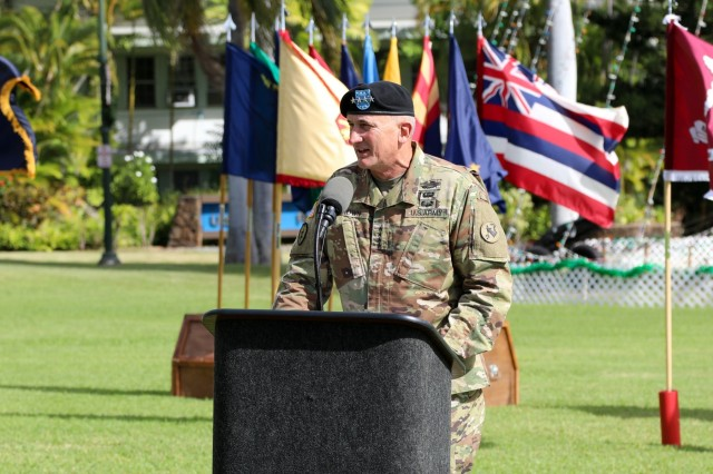 U.S. Army Pacific Commanding General, Gen. Robert Brown welcomed incoming Australian Deputy Commanding General-North, Maj. Gen. Daniel F. McDaniel and honored outgoing Deputy Commanding General-North, Maj. Gen. Roger J. Noble during a ceremony held Jan. 4, 2019 at Palm Circle on Fort Shaft, Hawaii. Australia is a vital ally and partner of the United States. The United States and Australia maintain a robust relationship underpinned by shared democratic values, common interests, and cultural affinities. The alliance with Australia is an anchor of peace and stability.
