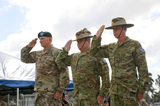 U.S. Army Pacific Commanding General, Gen. Robert Brown (left) welcomed incoming Australian Deputy Commanding General-North, Maj. Gen. Daniel F. McDaniel (right) and honored outgoing Deputy Commanding General-North, Maj. Gen. Roger J. Noble (center) during a ceremony held Jan. 4, 2019 at Palm Circle on Fort Shaft, Hawaii. Australia is a vital ally and partner of the United States. The United States and Australia maintain a robust relationship underpinned by shared democratic values, common interests, and cultural affinities. The alliance with Australia is an anchor of peace and stability.