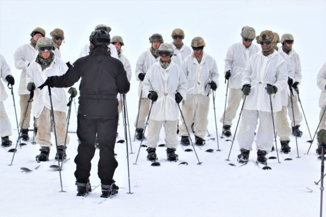 Students in the Fort McCoy Cold-Weather Operations Course (CWOC) Class 19-01 start their skiing orientation and familiarization Dec. 14, 2018, at Whitetail Ridge Ski Area at Fort McCoy, Wis. In addition to skiing, CWOC students are trained on a variety of cold-weather subjects, including snowshoe training as well as how to use ahkio sleds and other gear. Training also focuses on terrain and weather analysis, risk management, cold-weather clothing, developing winter fighting positions in the field, camouflage and concealment, and numerous other areas that are important to know in order to survive and operate in a cold-weather environment. The training is coordinated through the Directorate of Plans, Training, Mobilization and Security at Fort McCoy. (U.S. Army Photo by Scott T. Sturkol, Public Affairs Office, Fort McCoy, Wis.)