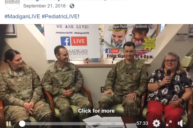Madigan Army Medical Center conducts Facebook LIVE event with its Pediatrics Department to interact directly with the community in September 2018.