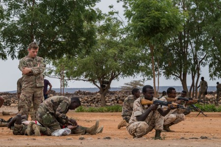 Djiboutian soldiers with the Rapid Intervention Battalion prepare for medical training taught by Texas Army National Guard Soldiers, near Djibouti City, Djibouti, Dec. 20, 2018. The RIB is a Djiboutian army elite military force crisis response unit.