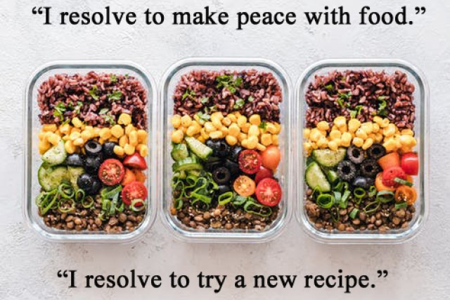 Step out of your comfort zone and try that recipe you saw on Instagram or Pintrest. Trying new foods may help open opportunities to substitute for meals in your regular rotation that are not supportive to your goals.