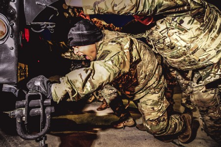 """A combat engineer assigned the 173rd Airborne Brigade, finds motivation while participating in """"Battle for the Castle,"""" Dec. 14, 2018 in Vicenza, Italy."""