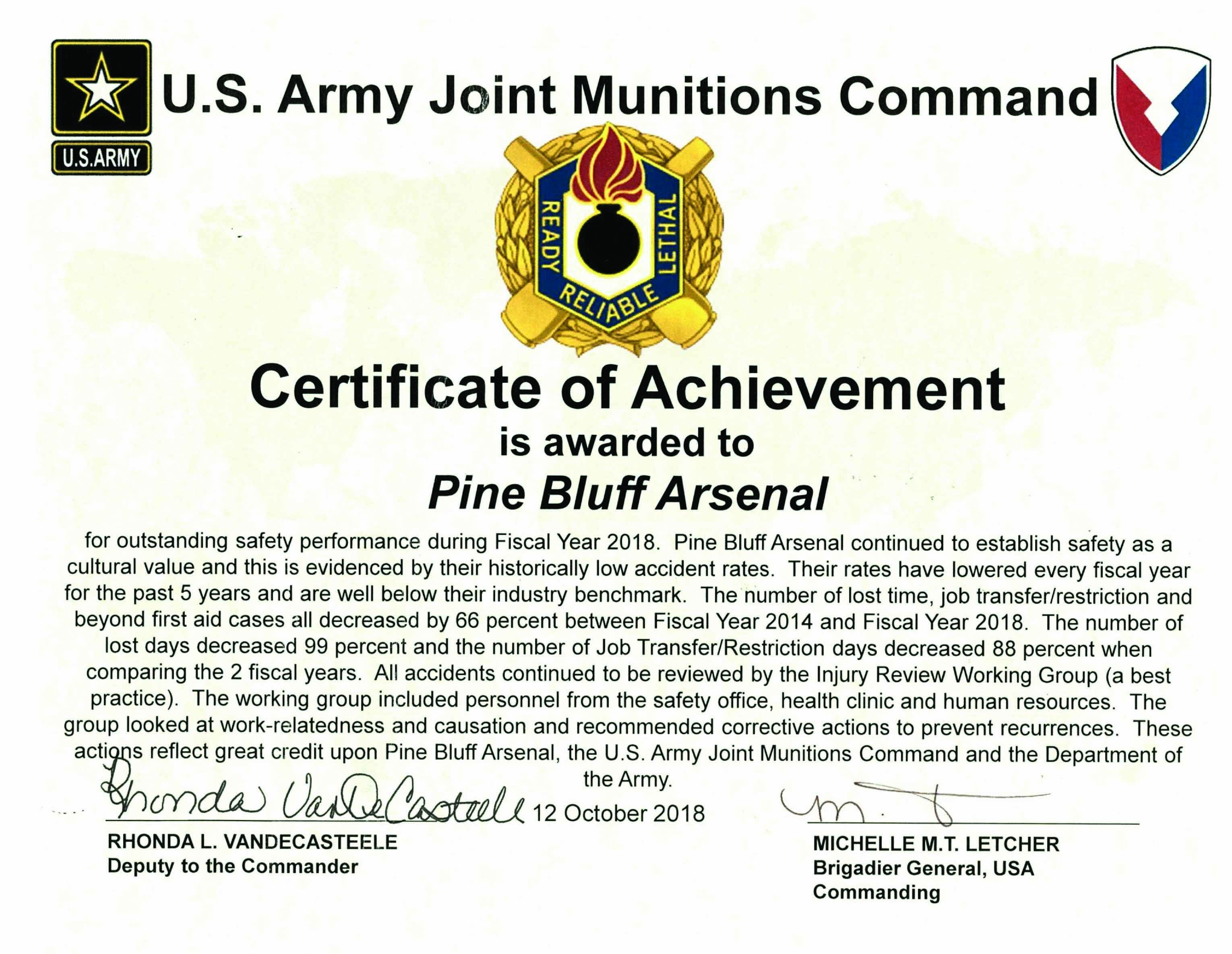 Arsenal Earns Top Jmc Safety Award Article The United States Army