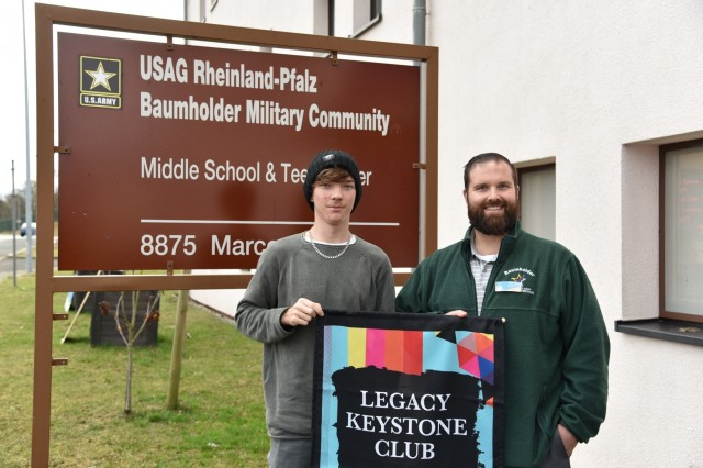 Wetzel Keystone Club President Zeth Jackson and Wetzel Keystone Club Adviser and Teen Center Director Ryan Flynn display the banner they received for earning Legacy Keystone Charter in 2017 and 2018. Jackson and Flynn have been selected to serve on the steering committee for the 2019 Boys & Girls Clubs of America Keystone Conference, an annual conference for teens to explore relevant issues faced by teens worldwide and develop leadership skills.